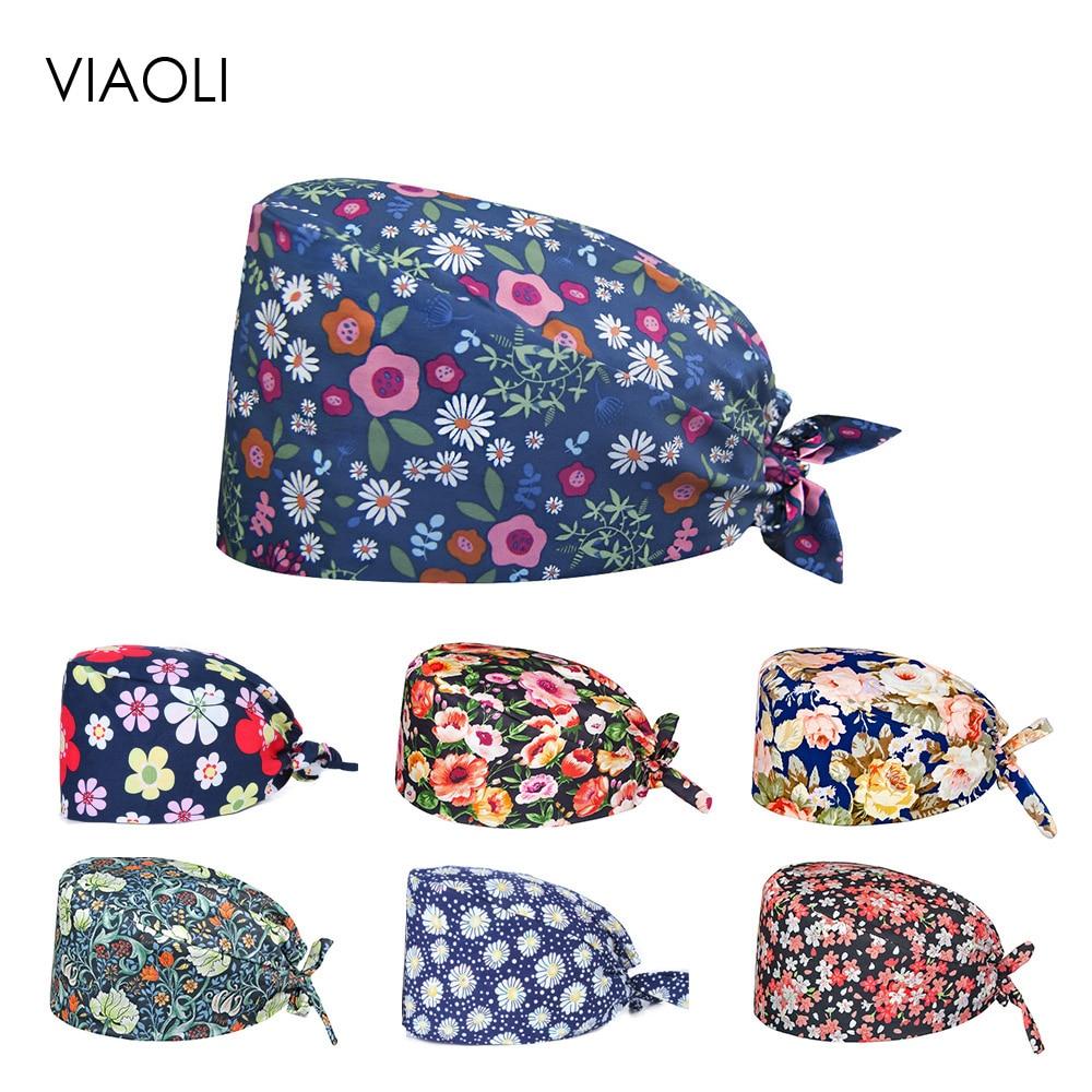 Viaoli 2020 Surgery Cap Doctor Hat Unisex Hospital Nurse Scrub Cap Dentistry Pet Printing Breathable Adjustable Beauty Salon Cap