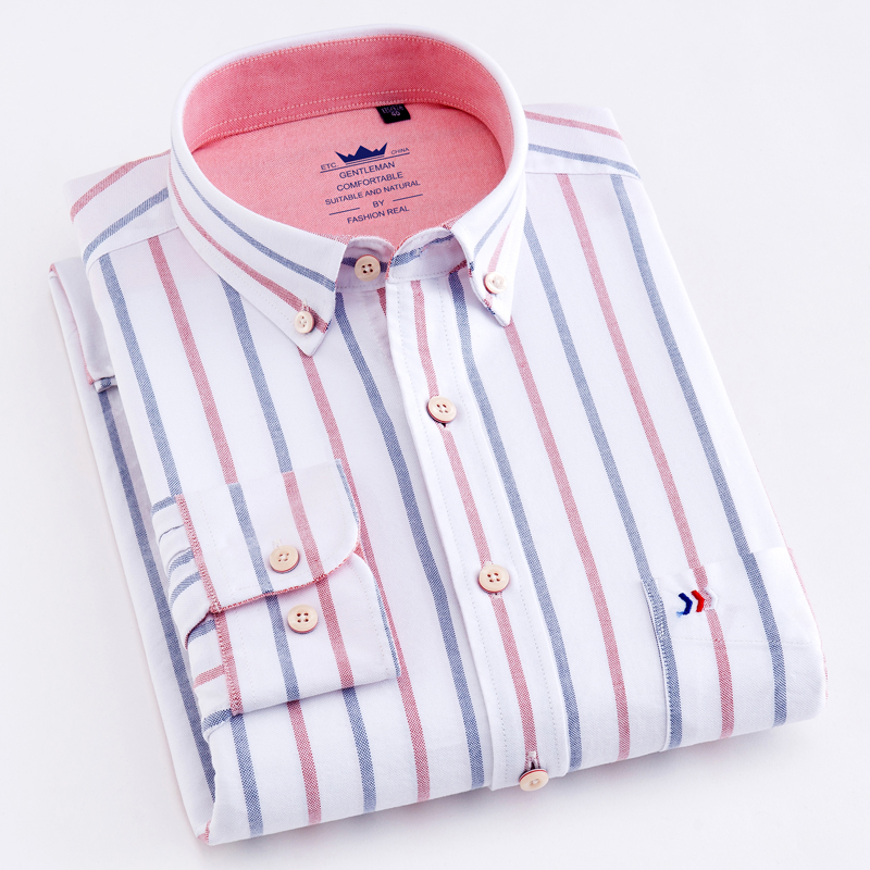 Striped Shirt Pocket Long-Sleeve Oxford Button-Down Casual 100%Cotton Standard-Fit Thick