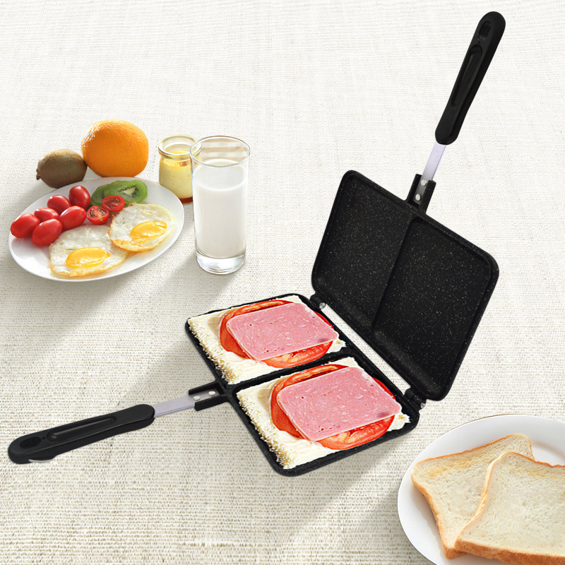 Two-hole Sandwich-maker Iron Bread Toast Breakfast Machine Waffle Pancake Baking Barbecue Oven Mold Grill Frying