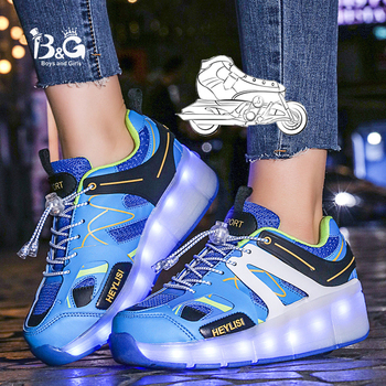 B&G LED Light Wheel Skateboarding Kids Shoes Mans Anti-slip Walking Shoes Breathable Running Shoes Woman Sneakers new shoes light double wheel breathable glowing walking shoes led roller skates 3 colors unisex students walking sneakers