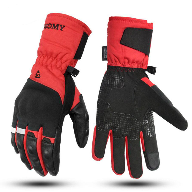SUOMY Motorcycle Gloves 100% Waterproof Touch Screen Winter Warm Motorbike Glove Men Protective Moto Luvas Guantes Black