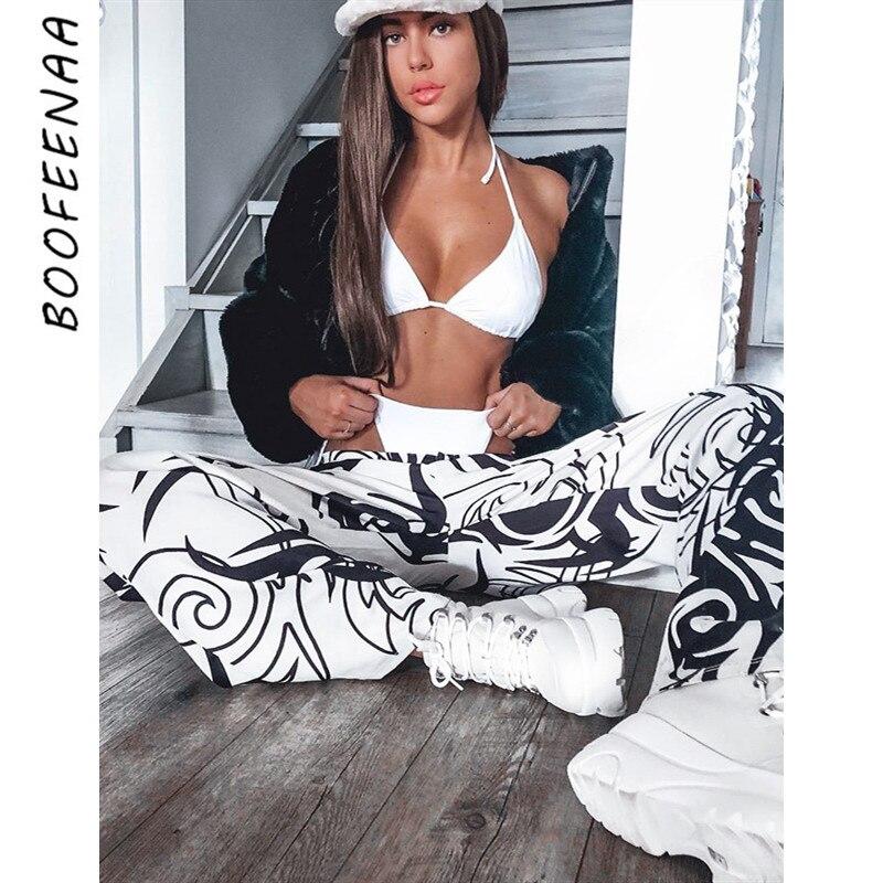 BOOFEENAA Fashion Print Black and White   Wide     Leg     Pants   Womens Street Wear Boyfriend Sweatpants Hip Hop Casual Trousers C70-AD65