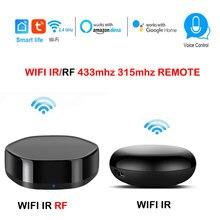Tuya wifi ir rf controle remoto compatível alexa google casa inteligente infravermelho rf 315/433.92 mhz aprendizagem extensão controle remoto