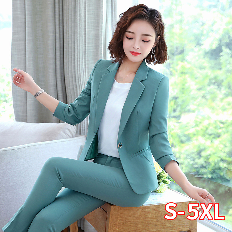 Office Work Pant Suits Women Suit Business Lady Uniform Female 2 Piece Set Blazer Pants Jacket Autumn Winter Large Size 4XL