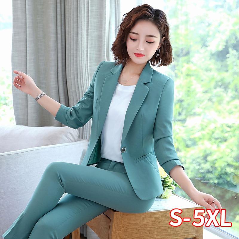 Office Work Pant Suits Women Suit Business Lady Uniform Female 2 Piece Set Blazer Pants Jacket Autumn Winter Large Size 4XL