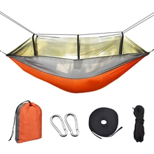260x140cm Portable Outdoor Camping Hammock with Mosquito Net High Strength Parachute Fabric Hanging Bed Hunting Sleeping Swing