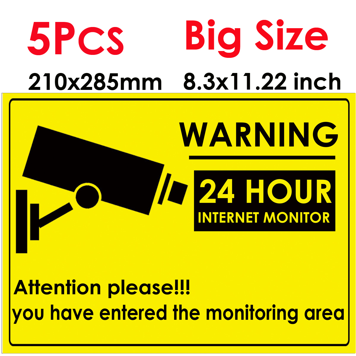 5pcs 24 HOUR CCTV Security Camera System Warning Sign Sticker Decal Surveillance CCTV Camera Video Warning Sticker Big Size 285x