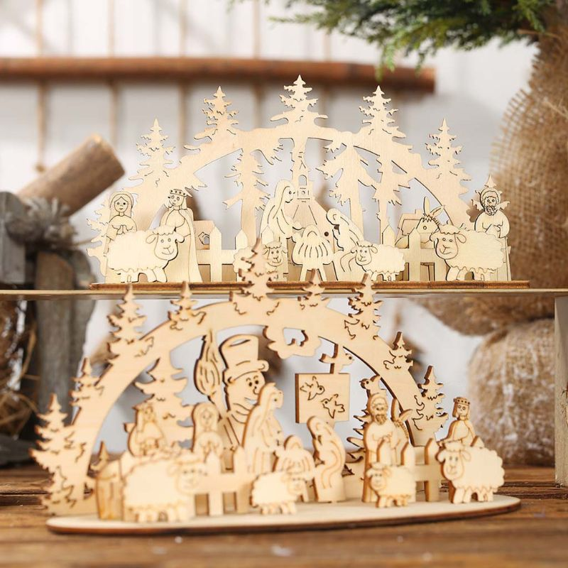 Christmas Wooden DIY Ornaments Decoration Wood Craft Santa Children's Creative Gift Desk Accessories for Home Bar Shopping Mall