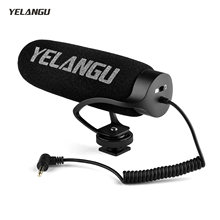 YELANGU MIC08 Auf-kamera Kondensator Mikrofon Video Mic mit Integrierte Shock Mount 3,5mm TRRS für Kamera Smartphone Vlog video