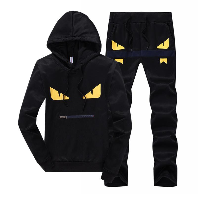 Spring And Summer Season New Style Youth Casual Hooded Sweater Set Men's Two-Piece Set Spring And Autumn Running Sports Printed