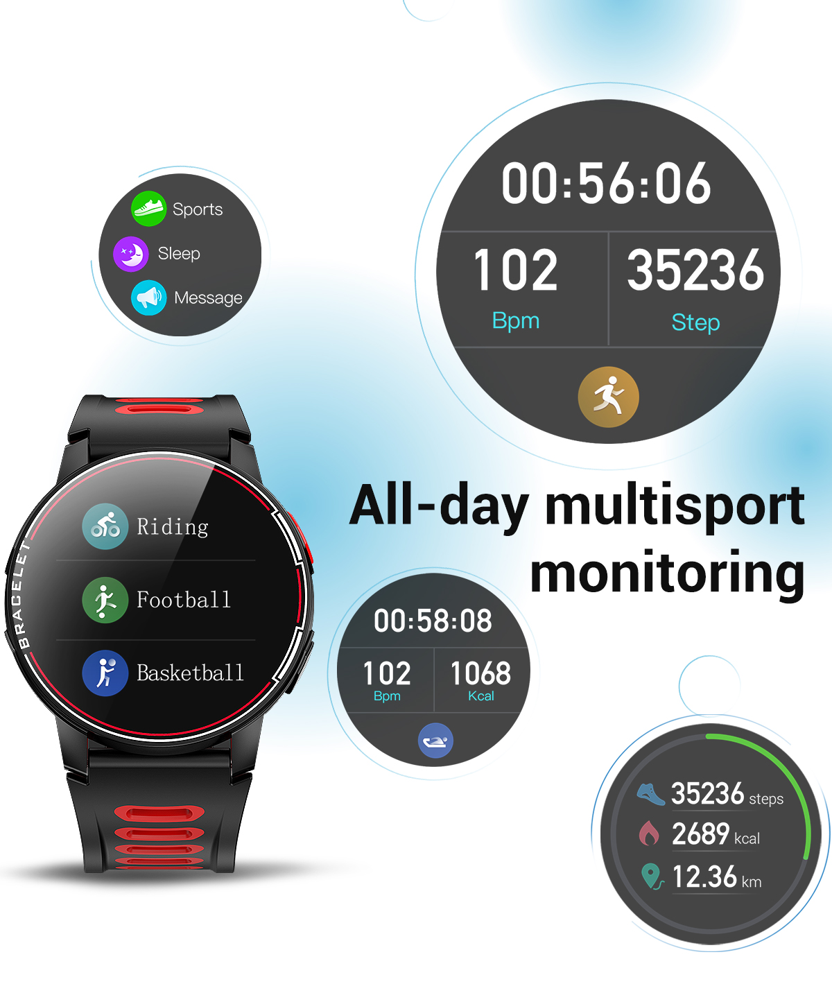 H22f65c45243f4fbcbce2c5fd0f1d01ffD 2020 New L6 Smart Watch IP68 Waterproof Sport Men Women Bluetooth Smartwatch Fitness Tracker Heart Rate Monitor For Android IOS
