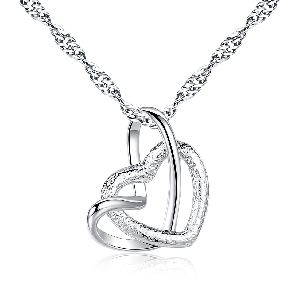 FXM fashion classic Silver color Heart shape chains Necklace For Women Pendant new design Jewelry Accessories necklaces Gift