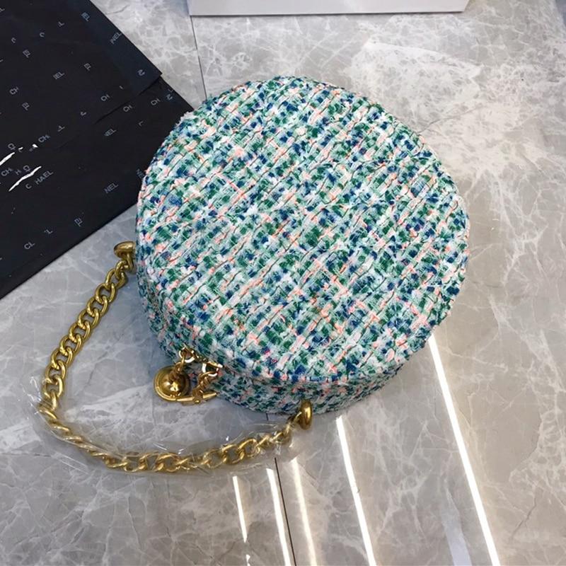 2019 moda redonda saco feminino circular bolsa de ombro crossbody com corrente sino estrelas tecido bolsa mulher festa bolsa - 6