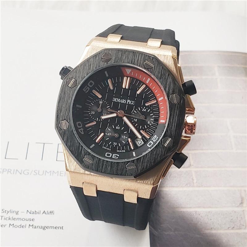 2020 Top Brand AP Men's Quartz Watches Day Date Diamond Wrist Watch AAA Luxury Fashion Men Quartz Watches Relojes Hombre