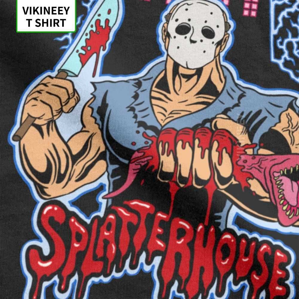 House Of Splatter TShirt Men Cotton Tเสื้อภาพยนตร์สยองขวัญวันศุกร์ที่ 13th Jason Voorhees Freddyแขนสั้นTeeเสื้อไอเดียของขวัญ