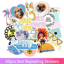 50Pcs/Set Ins style Vinyl Cute Nature VSCO Girl Stickers for Water Bottles Waterproof Aesthetic Stickers Toys Gift