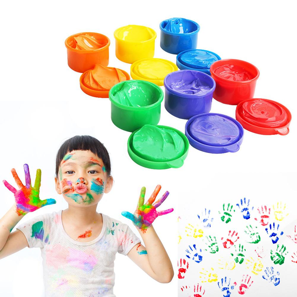 6PCS/Set Children Finger Painting Paints Vibrant Colors Washable Gouache Paint Doodle Set For Kids 6 Colors