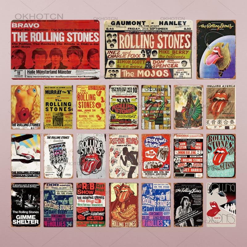 Металлический постер рок-группы, табличка, вращающиеся камни, металлический жестяной знак, Настенный декор для мужчин, пещера, бар, паб, деко...