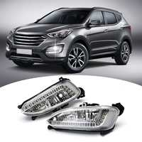 For Hyundai Santa Fe IX45 2013 2015 12V LED Daytime Running Light Waterproof Fog Lamp DRL Car Headlight Assembly