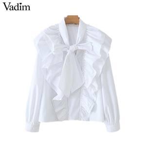 Image 1 - Vadim kadınlar chic papyon yaka beyaz bluz ruffles uzun kollu ofis giyim kadın gömlek zarif katı üst blusas LB379