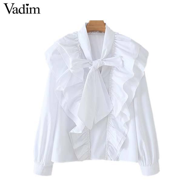 Vadim kadınlar chic papyon yaka beyaz bluz ruffles uzun kollu ofis giyim kadın gömlek zarif katı üst blusas LB379