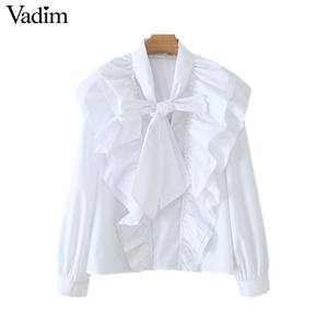 Image 1 - Vadim women chic bow tie collar white blouse ruffles long sleeve office wear female shirt elegant solid top blusas LB379