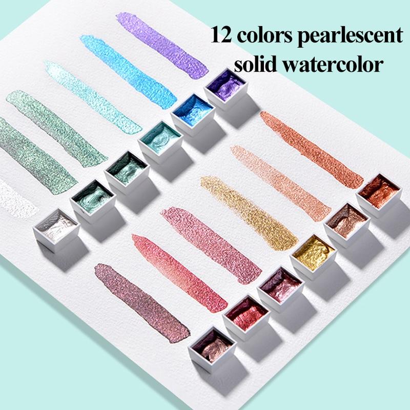 Splendi 12 cores sólido aquarela tintas conjunto texturizado perolado pigmento metálico brilho acuarela terno portátil suprimentos de arte