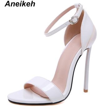 Aneikeh 2019 Women High Heels Sandals Summer Shoes Buckle Strap Sandals Pumps Peep Toe Cover Heel OL Office & Career Dress Shoe