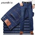 Джинсы Новинка 2021 осень хлопковые мужские Стрейчевые джинсы классический стиль модные повседневные деловые свободные брюки в новом стиле ...