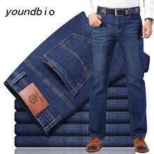 Jeans novo 2021 outono algodão calças de brim estiramento masculino estilo clássico moda casual negócio novo estilo solto calças 9536 27-40