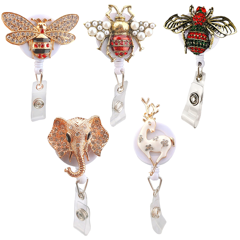 1pcs Adorable Animal Rhinestone Honeybee/Elephant/Reindeer Style Nurse Gift Name Badge  Holder Retractable Reel Clip Accessory