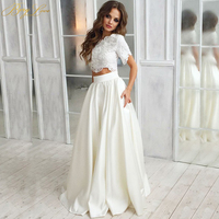 BeryLove Fashion Two Pieces Prom Dresses 2019 Floor Length Lace Top Appliqued Beads Satin Skirt Short Sleeves Girl Prom Gowns