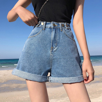 Women's Denim Shorts Classic Vintage High Waist Blue Wide Leg Female Caual Summer Ladies Shorts Jeans