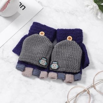 5-12 lat zimowe dzieci ciepłe rękawiczki dzieci dzianiny Stretch rękawiczki chłopiec dziewczyna Patchwork elastyczne rękawiczki zimowe bez palców dla dzieci tanie i dobre opinie Jamluky Poliester Akrylowe Zwierząt baby Unisex YE033 (14-19 5)*7 5CM Suit for 5-14 Years kids