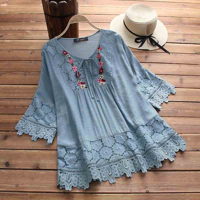 ZANZEA 2019 Zomer Kant Gehaakte Blouse Vrouwen Patchwork Lace Up Shirts Chemise Hollow Blusas Tuniek Tops Casual Tee Plus Size