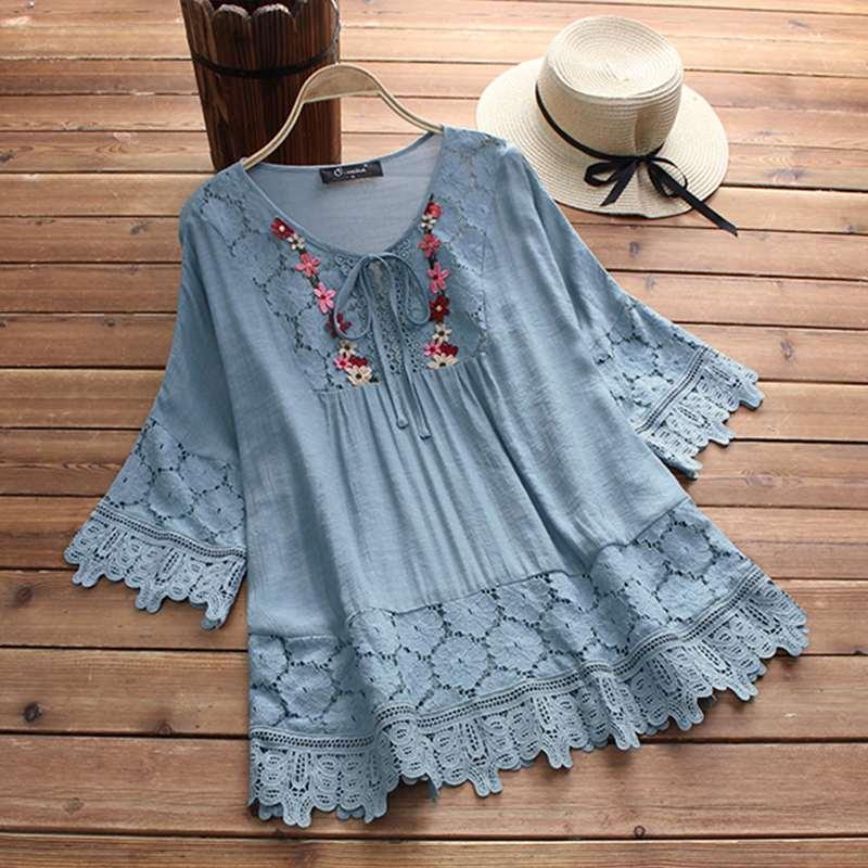 ZANZEA 2019 Summer Lace Crochet Blouse Women Patchwork Lace Up Shirts Chemise Hollow Blusas Tunic Tops Casual Tee Plus Size