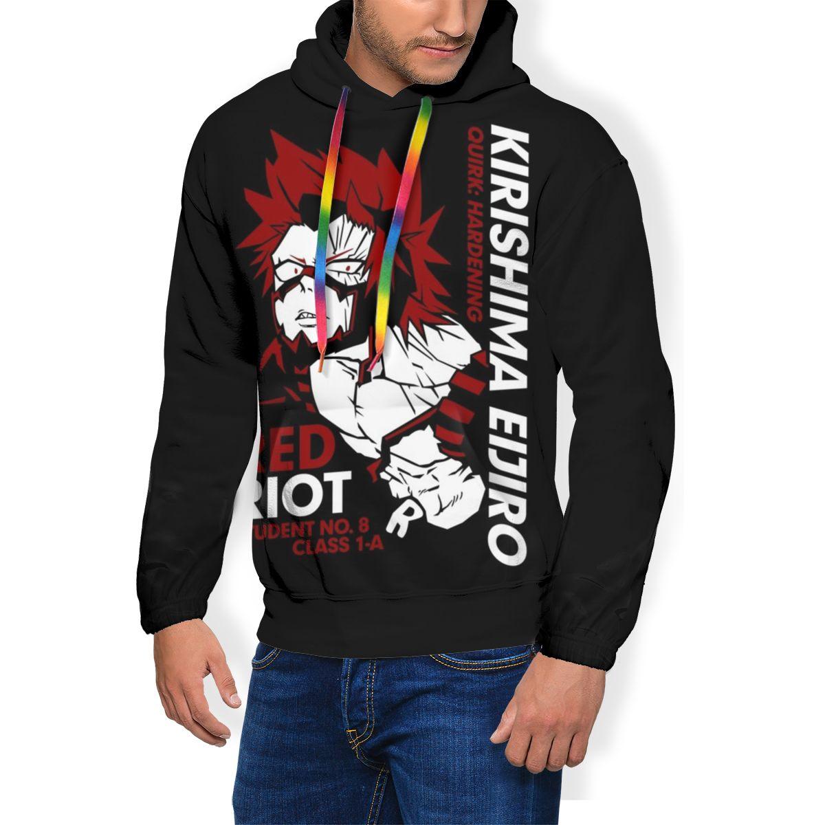 Riot Hoodie Kirishima Eijiro Hoodies X Grey Pullover Hoodie Casual Men Polyester Loose Long Autumn Hoodies