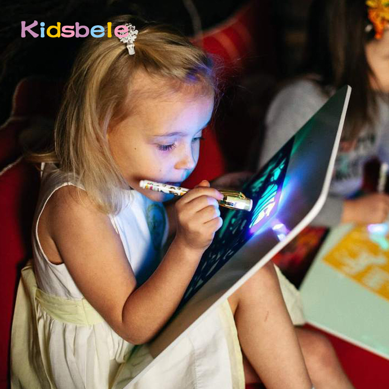 Kids Toy Drawing-Board Fluorescent-Pen Educational-Toy Tablet Big-Light Magic Luminous