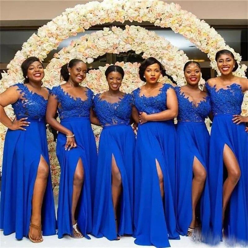 Robes de demoiselle d'honneur bleu Royal a-ligne femmes Applique robe de mariée en dentelle