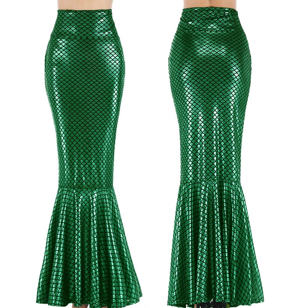 Green Mermaid Long Tail Costume Skirt