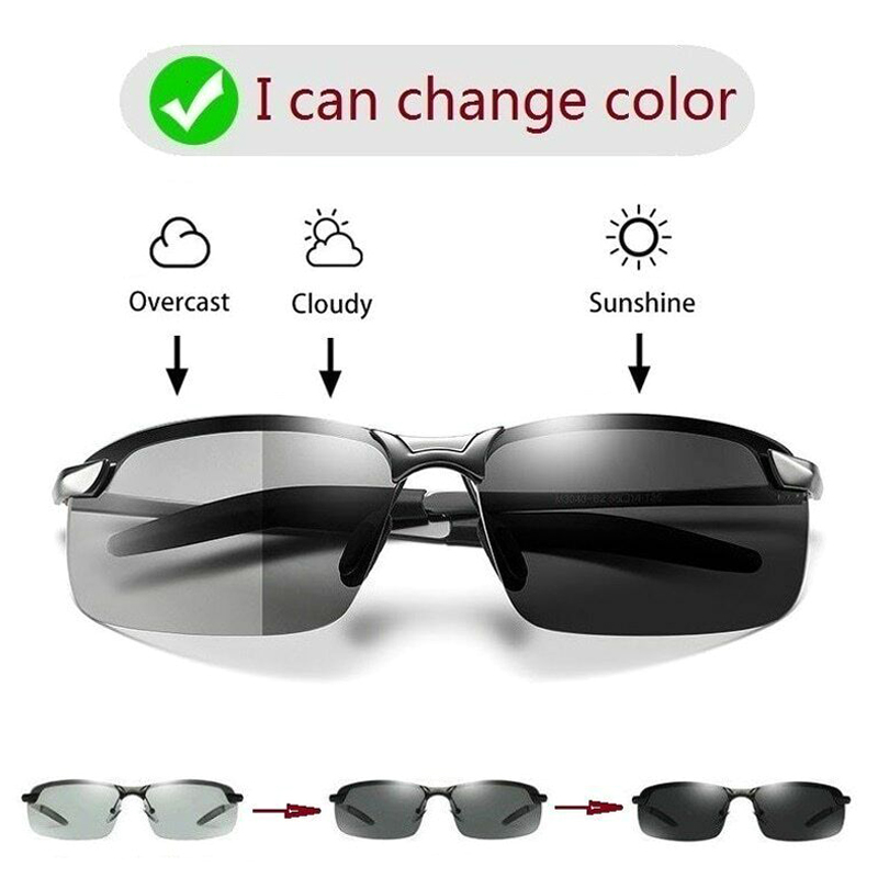 Brainart Men Photochromic Sunglasses with Polarized Lens for Driving Outdoor Driver's Eyewear Male Change Color Sun Glasses