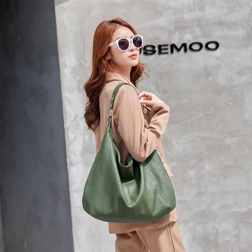 2020 yeni hamur Hobos çanta bayanlar büyük kapasiteli omuz çantaları basit moda tasarım kadın çanta büyük rahat tote