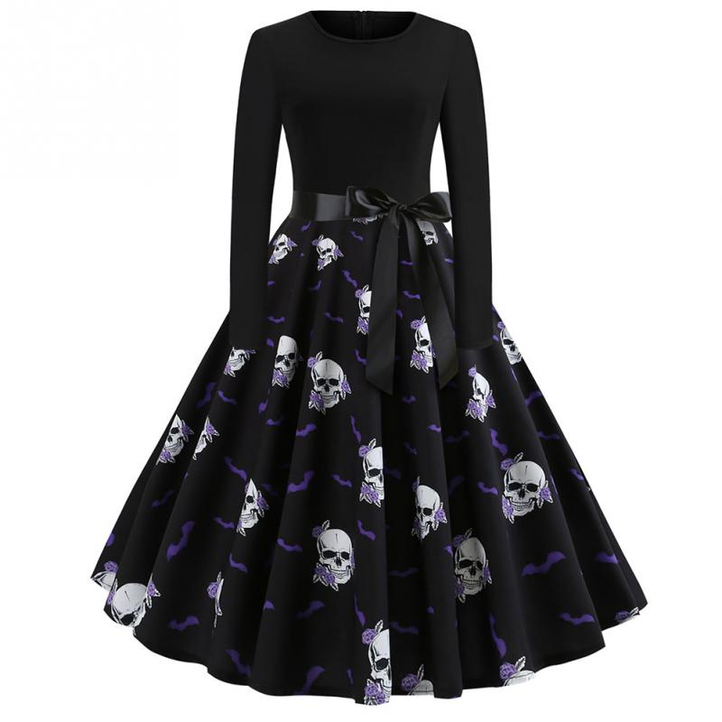 Fancy Pumpkin Printed Halloween Dress Long Sleeve Mid Length Princess Swing Dress Ladies Costume for Festival Party M-XXL 6