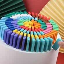 120 шт./компл. радужные деревянные блоки домино головоломка игрушки для детей Монтессори Раннее Обучение игры домино Обучающие игрушки подарок