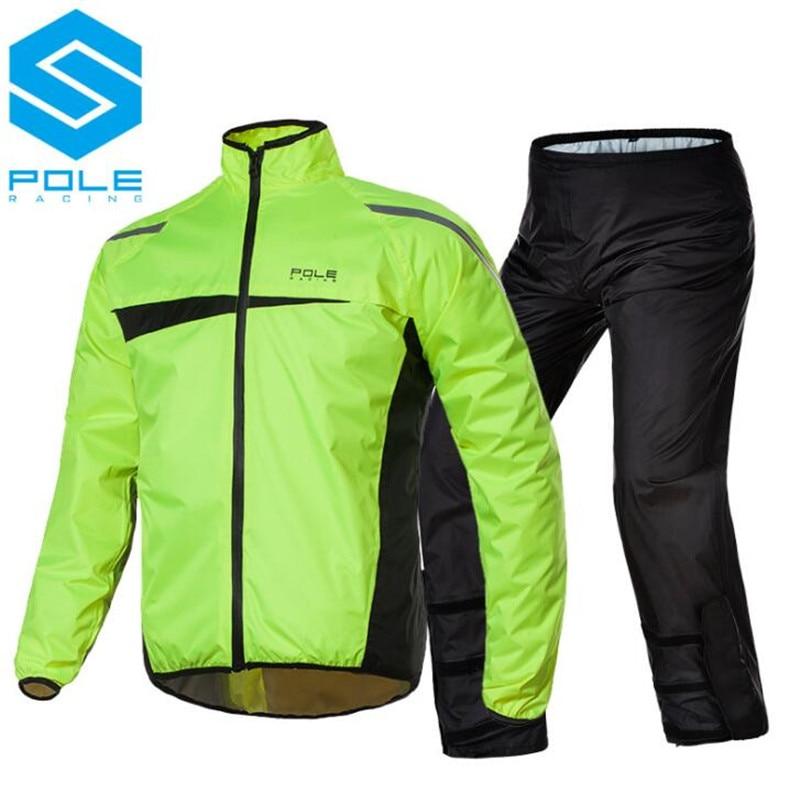 POLE Waterproof Motorcycle Rain Suit Raincoat+Rain Pants Poncho Motorcycle Rain Jacket Riding Motorbike Rain Coat Motorcycle