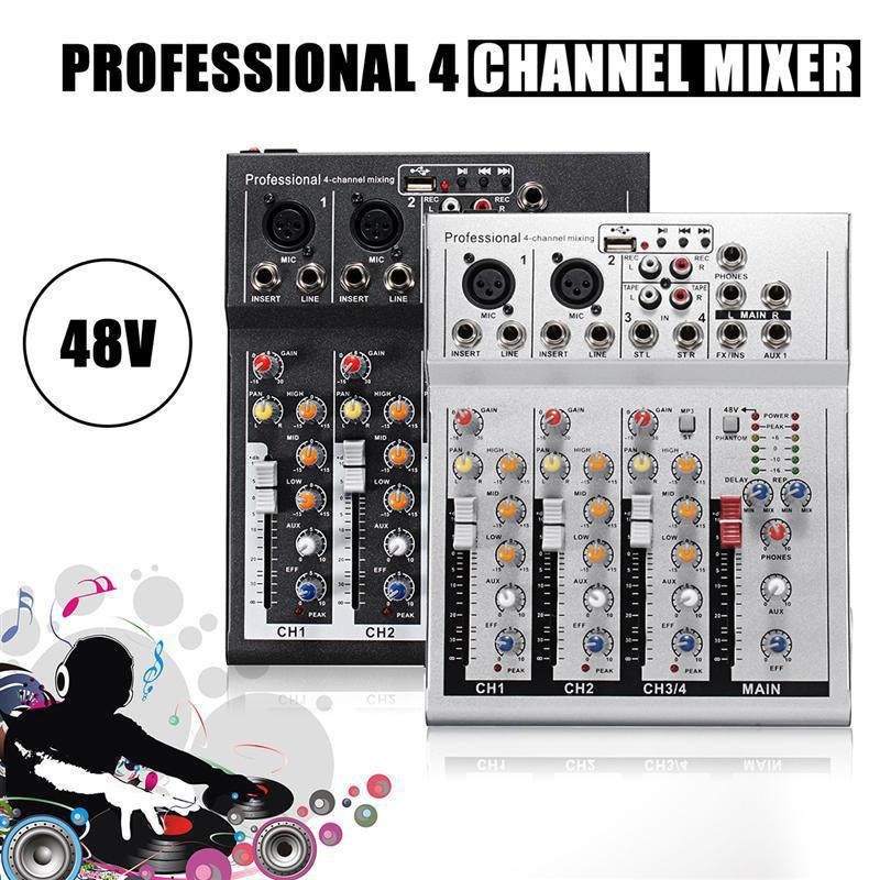 Мини караоке аудио миксер усилитель профессиональный микрофон US Plug черный микшерный звуковой пульт 4 канала USB 48V Phantom Power F4|Караоке и микшерные пульты|   | АлиЭкспресс