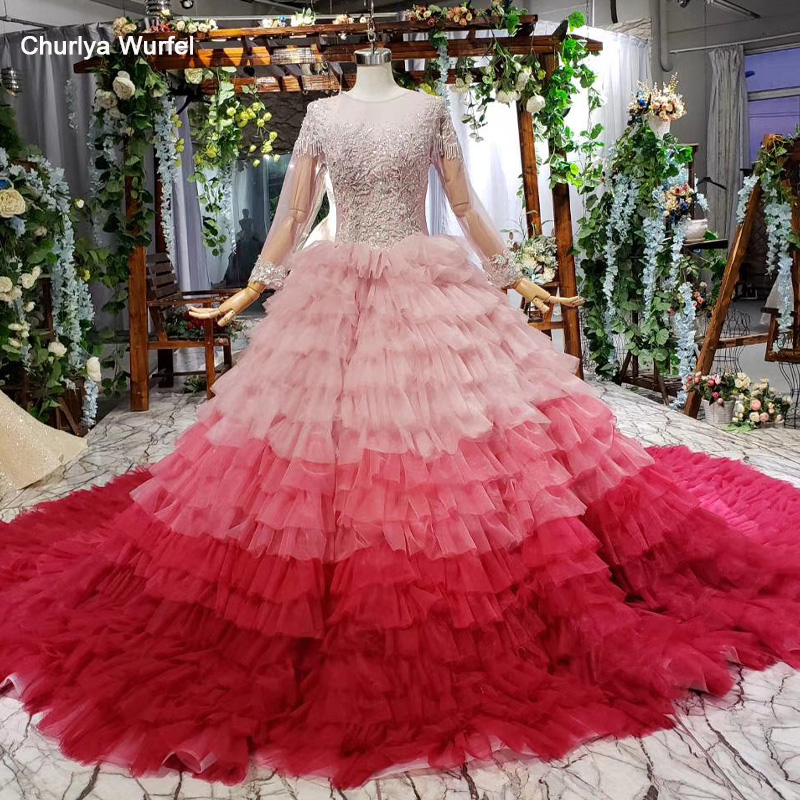 HTL674 Elegant Long Evening Dresses With Train Illusion Beading Appliques Formal Dresses Evening Gown Vestido Longo Festa Noite