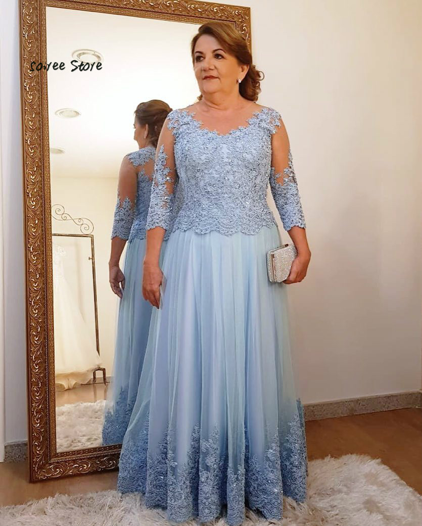 Elegant Blue Mother Of The Bride Dresses With Long Sleeve Plus Size Lace Formal Evening Gowns Floor Length 2019 Bead Party Gown