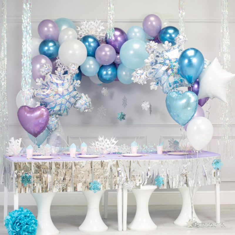 37pcs Ice <font><b>Princess</b></font> <font><b>Party</b></font> Decoration Christmas Snowflake Foil Balloons Birthday <font><b>Party</b></font> Metal Balon Decor Girl Wedding Winter <font><b>Party</b></font> image