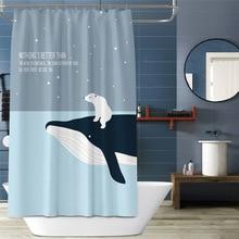 цена на Cartoon Whale Cat Pattern Shower Curtain Bathroom Waterproof Shower Curtain Shower Curtains Bathroom Curtain